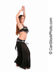 Beautiful belly dancer with long blond hair