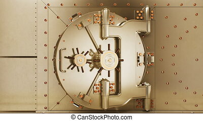Beautiful Big Round Vault Door Opening to the Golden Bullions Reserve. Abstract 3d Animation of Bank Gold Storage Room. Banking and Financial Concept. 4k Ultra HD