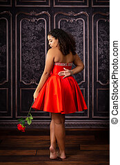 Beautiful, Biracial High School Senior wearing red prom ...