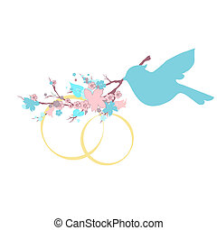 beautiful bird, flower branch, on a white
