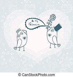 Beautiful birds in love. Illustration of cartoon birds on branch, two romantic birds sitting on the tree. Valentine's day card with place for your text.