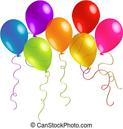 Beautiful Birthday Balloons with Long Ribbons - Seven...