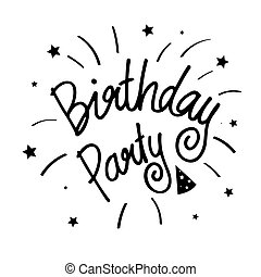 Beautiful birthday party poster with calligraphy black text