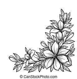 Beautiful black and white branch with flowers. Drawn in ...