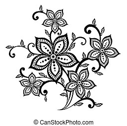 beautiful black and white floral pattern design element....