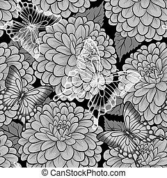 beautiful black and white seamless background with butterflies and dahlias