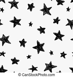 Beautiful black and white seamless night sky pattern with doodle textured stars, hand drawn.