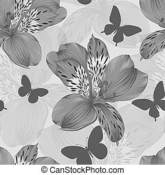 seamless pattern alstroemeria - beautiful black and white...