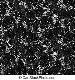 beautiful black and white seamless pattern in alstroemeria....