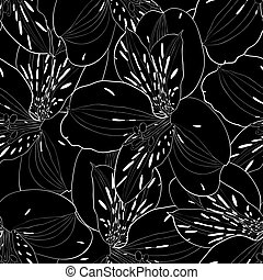 beautiful black and white seamless pattern in alstroemeria...