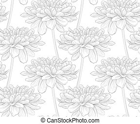 beautiful black and white seamless pattern in dahlia.