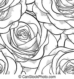 beautiful black and white seamless pattern in roses with contours