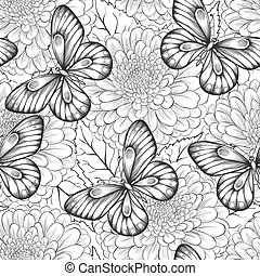 beautiful black and white seamless pattern with flowers and butterflies