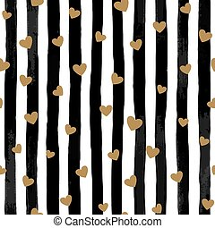 beautiful black and white seamless watercolor striped background with gold hearts.