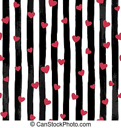 beautiful black and white seamless watercolor striped background with red hearts.