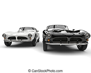 Beautiful black and white vintage sports cars