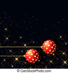 beautiful black christmas background with realistic red ball