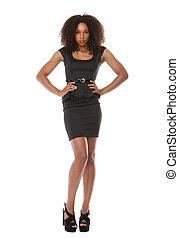 Beautiful black fashion model with dress - Full body...