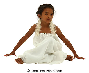 Beautiful black girl child in white angel dress with clipping path over white.
