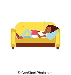 Beautiful black girl sleeping on yellow sofa with book, relaxing person cartoon vector illustration