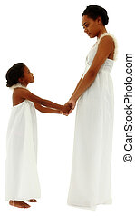 Beautiful black mother daughter portrait holding hands face to face with clipping path.