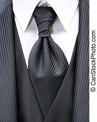necktie - Beautiful black necktie with suite of a bridegroom...