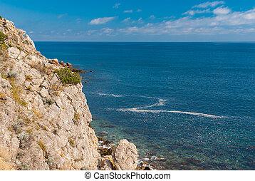 Beautiful Black sea shore at spring season, Crimea