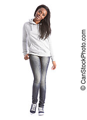 Beautiful black student girl in jeans and sweater