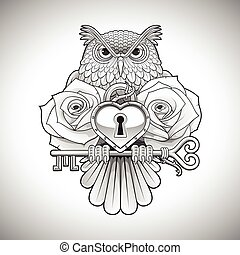 Beautiful black tattoo design of an owl holding a key with a...