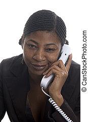 beautiful black woman customer service on telephone with attitude