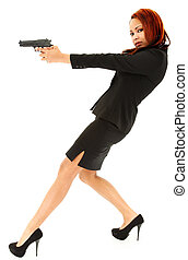 Beautiful Black Woman in Suit and Heels Aiming Handgun in...