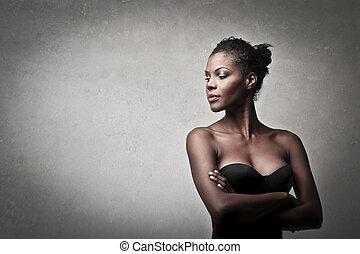 beautiful black woman on gray background