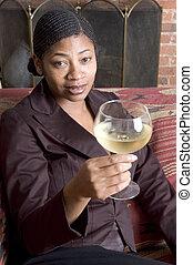 beautiful black woman on sofa