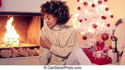 Beautiful black woman seated beside white tree - Beautiful...