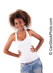beautiful black  woman, smiling, isolated on white background