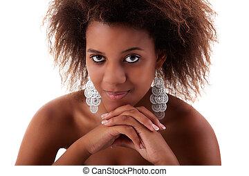 beautiful black  woman, smiling, isolated on white background. Studio shot