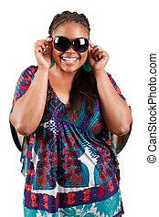 beautiful black woman wearing sunglasses