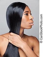 Beautiful black woman with long straight hair - Beautiful ...