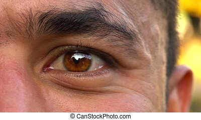 Beautiful blinking male eye close-up - Closeup of brown man'...