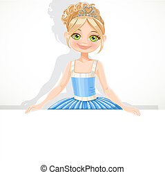 Beautiful blond ballerina girl in tiara and blue tutu hold big white banner