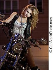 Beautiful blond caucasian american woman