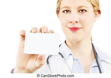 Beautiful blond female doctor
