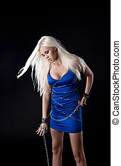 Beautiful blond girl stamd in blue cloth