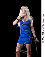 Beautiful blond girl take neck with chain