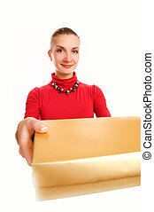 Beautiful blond girl with a gift box isolated on white background