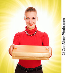 Beautiful blond girl with a gift box