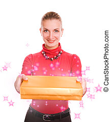 Beautiful blond girl with a magic gift box