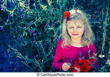 beautiful blond girl with flowers