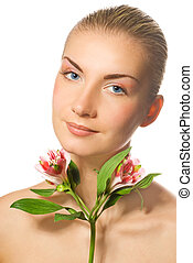 Beautiful blond girl with fresh flower isolated on white background