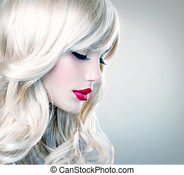 Beautiful Blond Girl with Healthy Long Wavy Hair. White Hair...